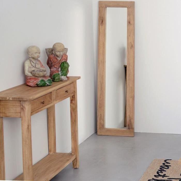 Miroir rectangulaire JAKOB en bois naturel L 160 x l 3 x H 40
