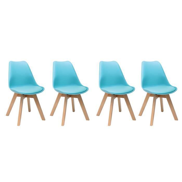 CHAISE Chaise Design Bleu Et Pieds Bois Lot De 4 PAULINE