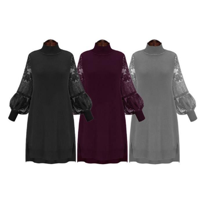 2016 nouveau printemps de grande taille col haut robe dentelle couture pour femmes robe à manches longues talonnage