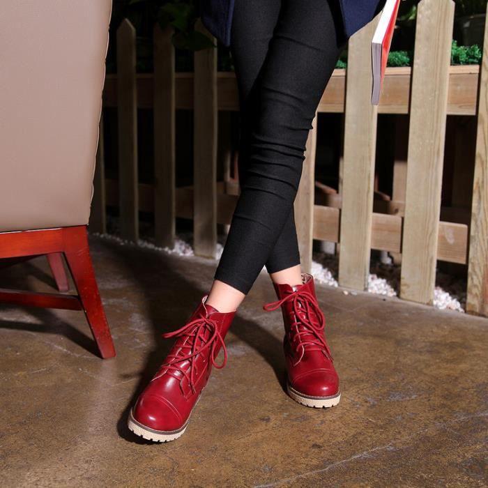 martin boots-Femmes Pure Couleur faible talon B...