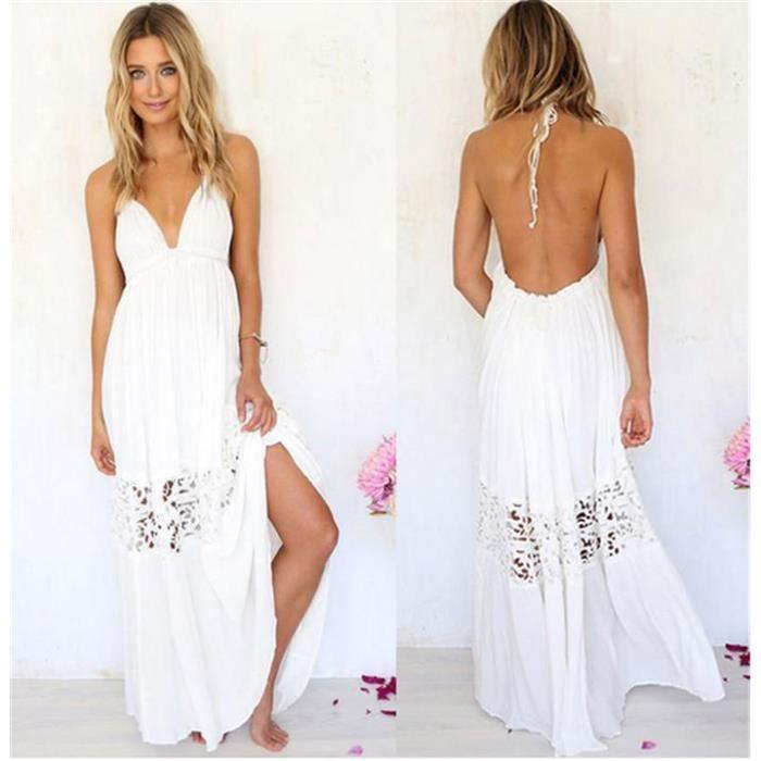 2016 femme robe longue dos nu bretelle dentelle s m l xl xxl sexy plage t blanc blanc achat. Black Bedroom Furniture Sets. Home Design Ideas
