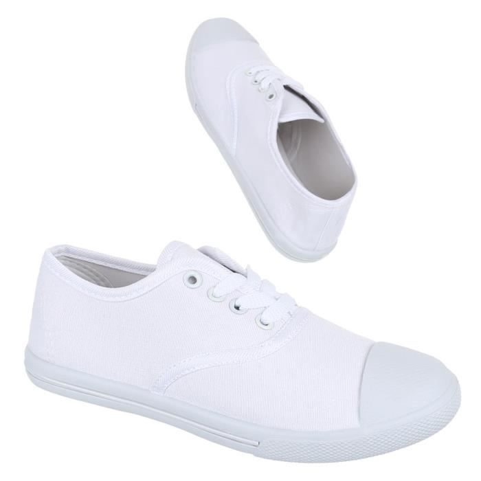 Femme chaussures loisirs chaussures lacer chaussures de sport Sneakers blanc 38