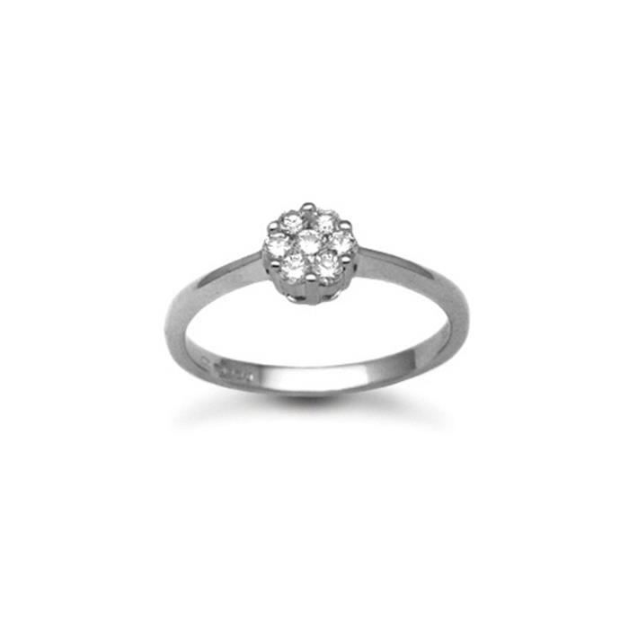 Jewelco London sans-conflit Femmes Solide Or Blanc 18k Grappe Rond Brillant G SI Diamant Daisy 7 Stone Grappe Bague