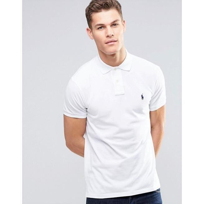 dc6228c8672c POLO RALPH LAUREN Costum Fit HOMME BLANC Blanc BLANC - Achat   Vente ...
