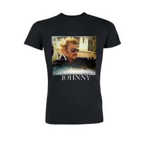 T-SHIRT T-Shirt Photo Johnny Hallyday - Homme - Noir