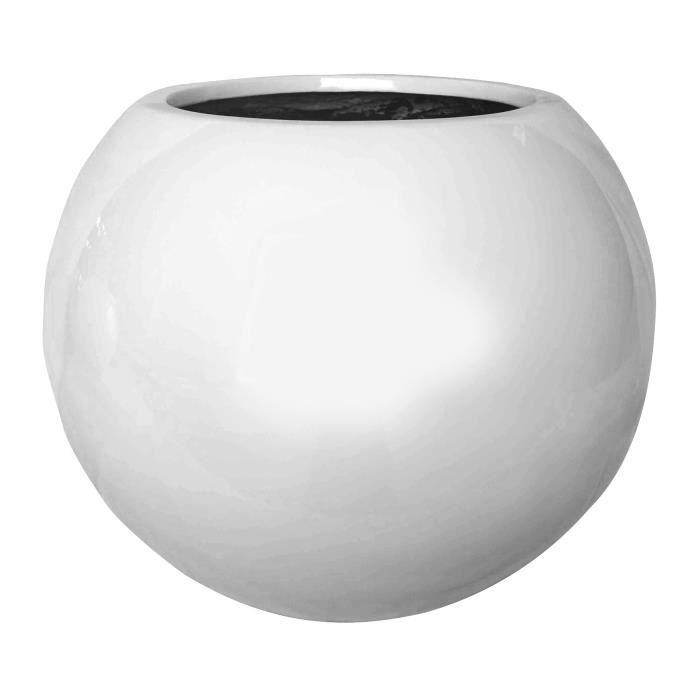 Pot boule en fibrestone laqué - Dimensions : Ø31x25cm - Coloris : blanc.JARDINIERE - POT DE FLEUR - CACHE-POT
