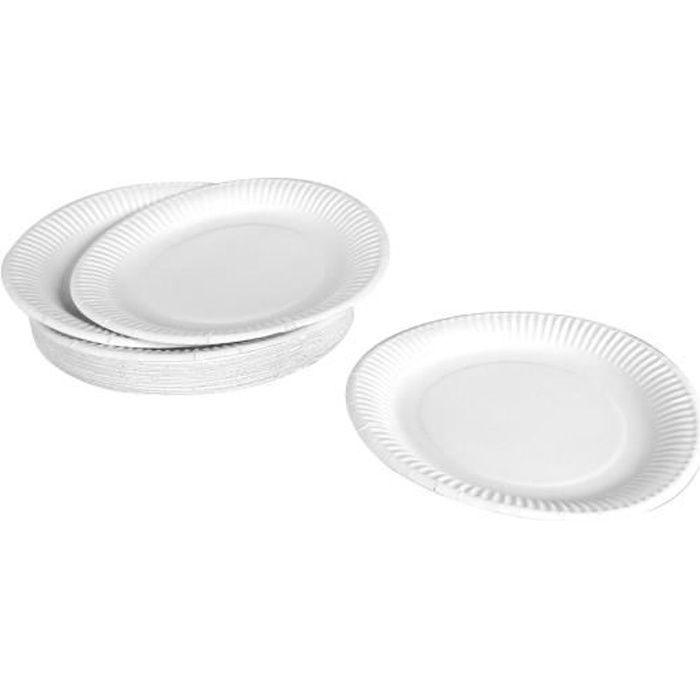 Lot de 50 assiettes en carton jetables diamètre 18 cm blanc