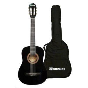 SUZUKI Guitare classique 3/4 finition noire avec housse de protection