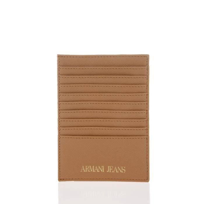 ARMANI JEANS - Porte Carte Cognac 9 Emplacements