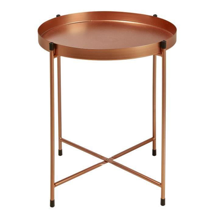 TERRANO Table basse style contemporain métal cuivre - L 41 x l 38 cm