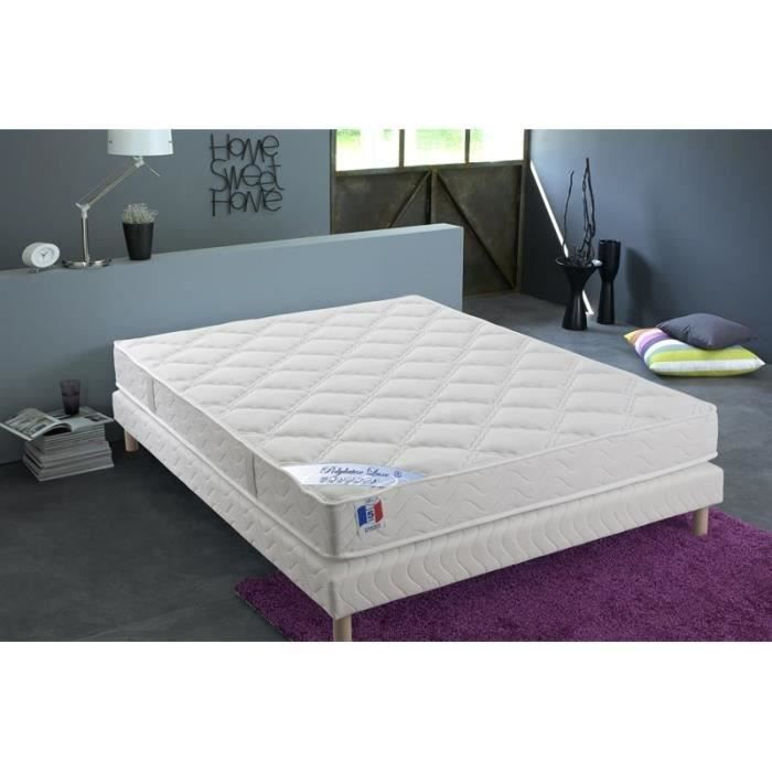CONFORT DESIGN Ensemble matelas + sommier 140 x 190 - Polylatex et mousse - 18 cm - Ferme