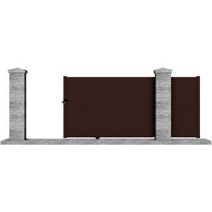 Portail manuel coulissant aluminium Telica 3,5m marron - CLOTURA