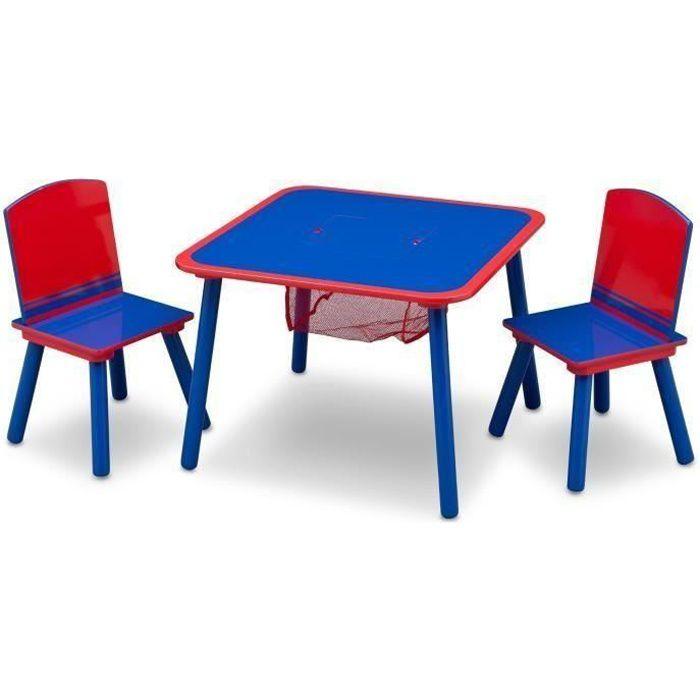 DELTAKIDS - Ensemble Table et 2 Chaises Bois Enfant - Bleu et Rouge