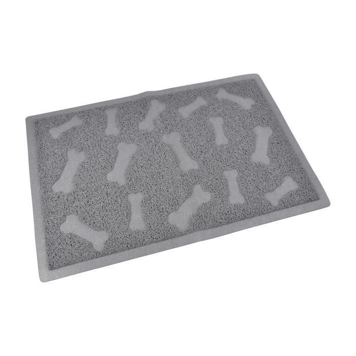Tapis de litière PVC rectangle - 40x60 cm - Gris - Pour chat