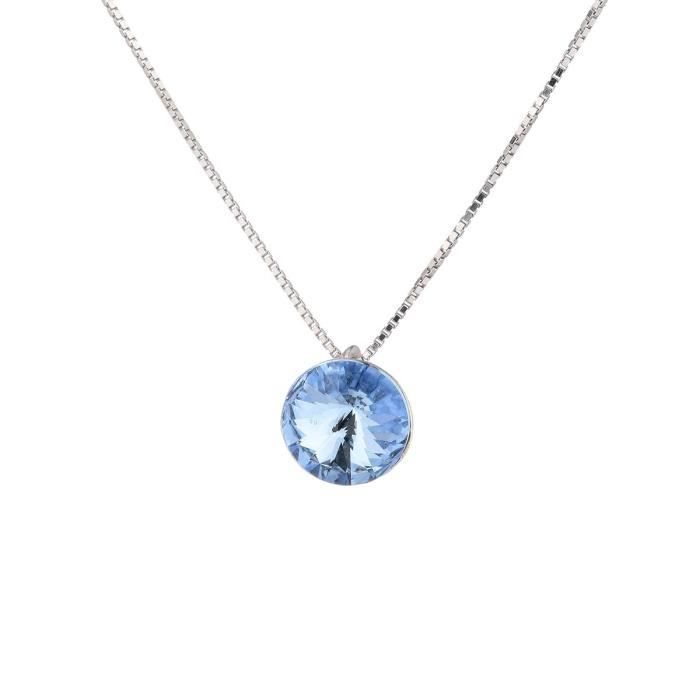 LES BIJOUX D'EMMA CRISTAL - Collier en Argent et Cristal De Swarovski Coloris Light Sapphire