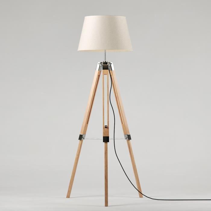 NATURE Lampadaire trépied en bois laqué naturel - Ø65 x H.144 cm - Abat-jour écru - E27 40W