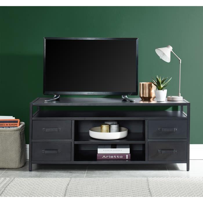 LIVERPOOL Meuble TV métal noir - L 118 x P 40 x H 50 cm