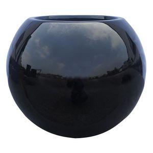 Pot boule en fibrestone ?31x25cm - Noir