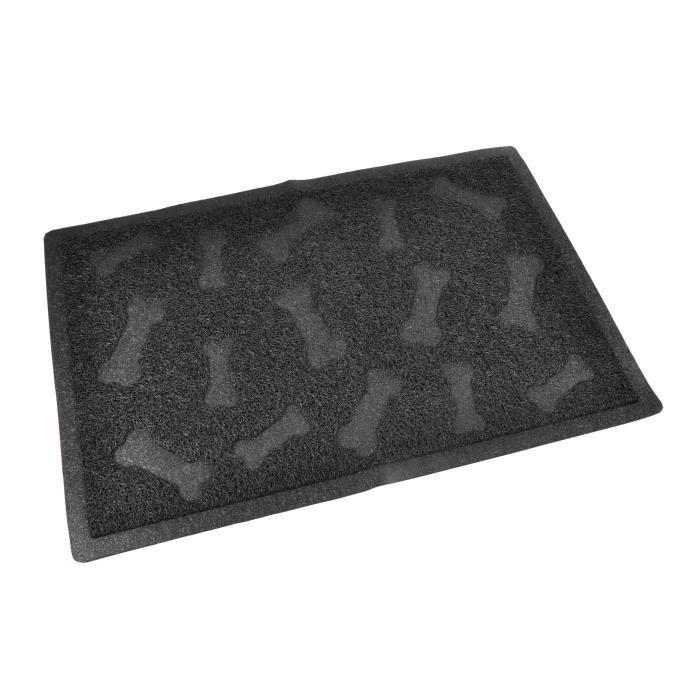 Tapis de litière PVC rectangle - 40x60 cm - Noir - Pour chat