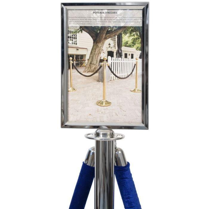 Porte-affiche chrome pour poteau d'accueil