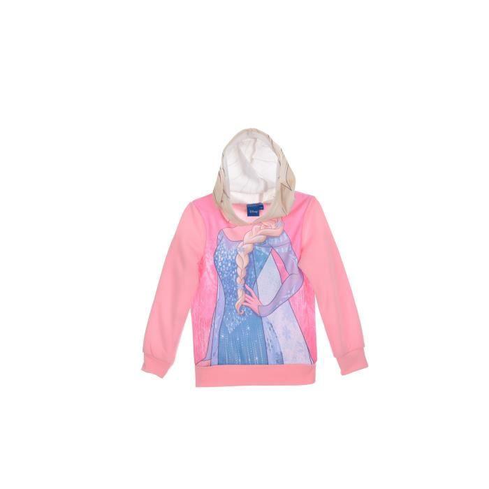 LA REINE DES NEIGES Sweatshirt à capuche - Enfant fille - Rose