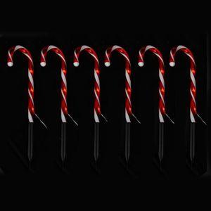 Lot de 6 Pics sucre d'orge lumineux en PVC Rouge
