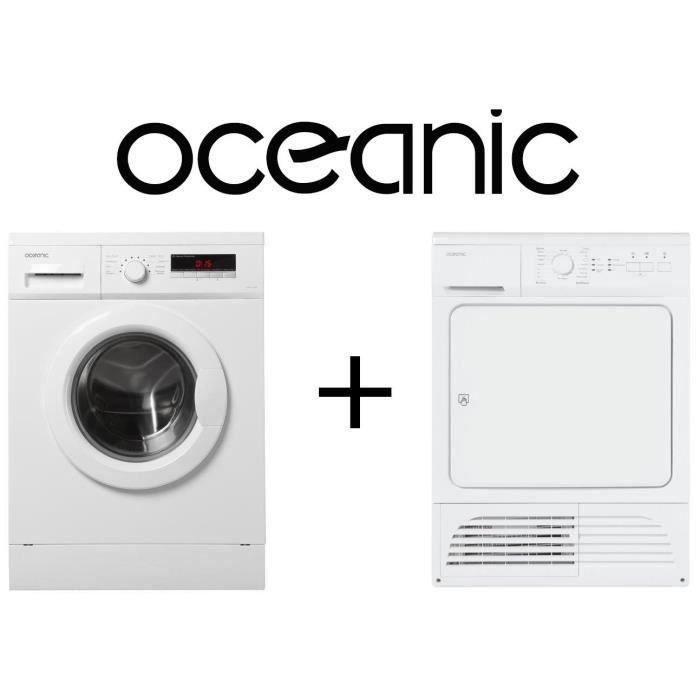 Pack OCEANIC Lave Linge OCEALL814W2 - 8 kg - 1400 trs / min + Sèche linge OCEASLCE8W - 8 kg - Condensation