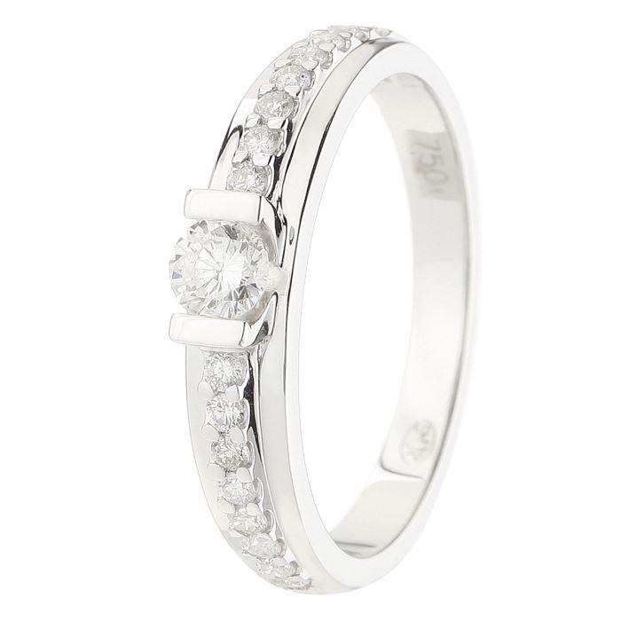 MONTE CARLO STAR - Solitaire en Or Blanc 18 Carats et Diamants Accompagné - Femme