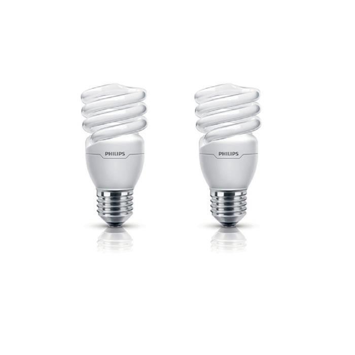 PHILIPS Lot de 2 ampoules fluo-compacte E27 15 W équivalent à 75 W