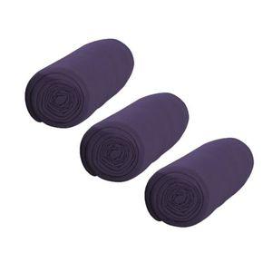 TODAY Pack de 3 Draps Housse 100% coton 140x190 cm deep purple