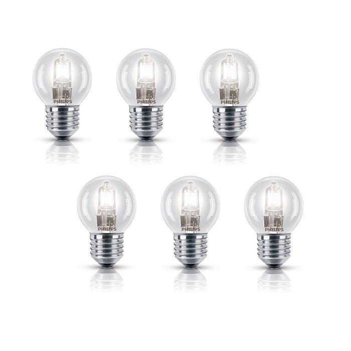 PHILIPS Lot de 6 ampoules Ecohalo E27 42 W équivalent à 55 W