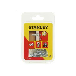 STANLEY Kit de 4 chevilles auto foreuses en nylon 25 mm avec crochet tableau et vis STF30224-XJ