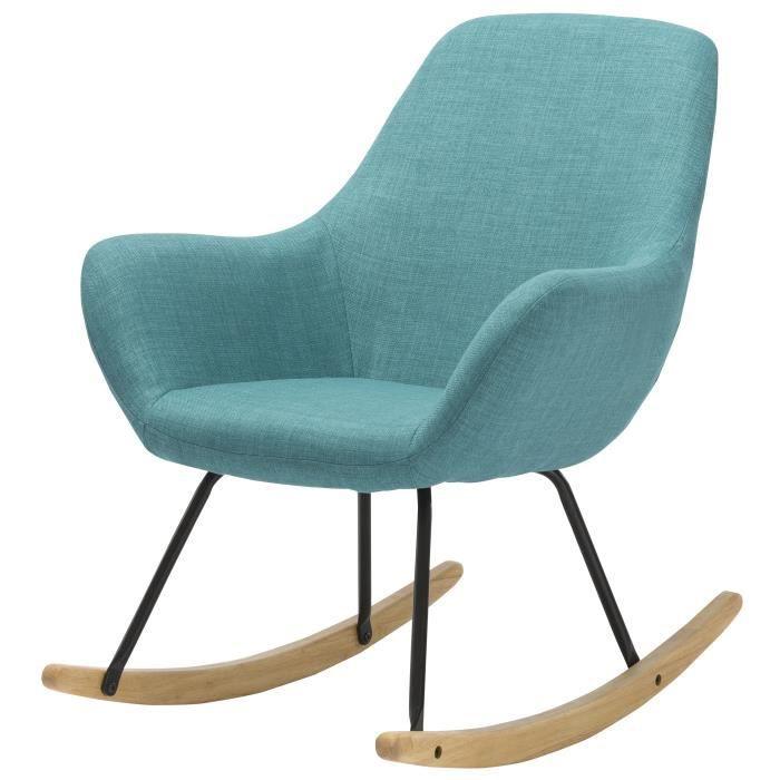 norton fauteuil rocking chair en tissu bleu pieds. Black Bedroom Furniture Sets. Home Design Ideas