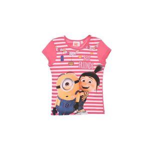 T-SHIRT MINIONS T-shirt Manches Courtes Sérigraphié Rose F