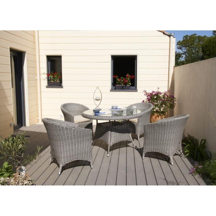 ISA Salon de jardin 4 places résine tressée gris - Achat / Vente ...