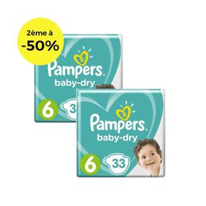 COUCHE Pampers Baby-Dry Taille 6 x33 - Lot de 2