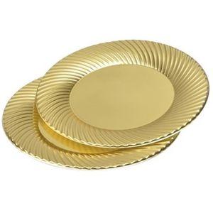 ASSIETTE JETABLE Lot de 6 assiettes rondes - Ø 23 cm - Or