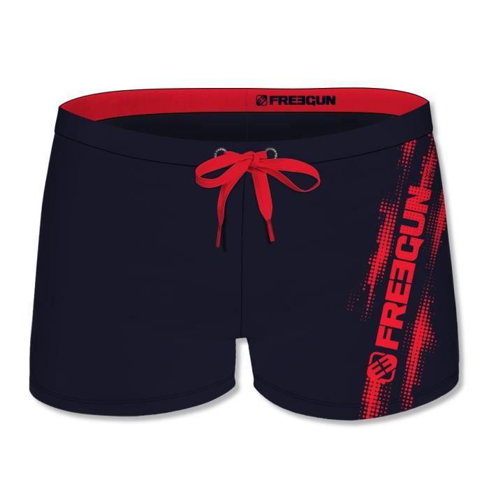 FREEGUN - Boxer De Bain Noir avec Logo Rouge pour Homme