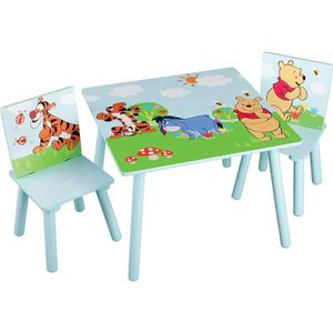 TABLE ET CHAISE WINNIE L'OURSON - Ensemble Table et 2 Chaises Bois