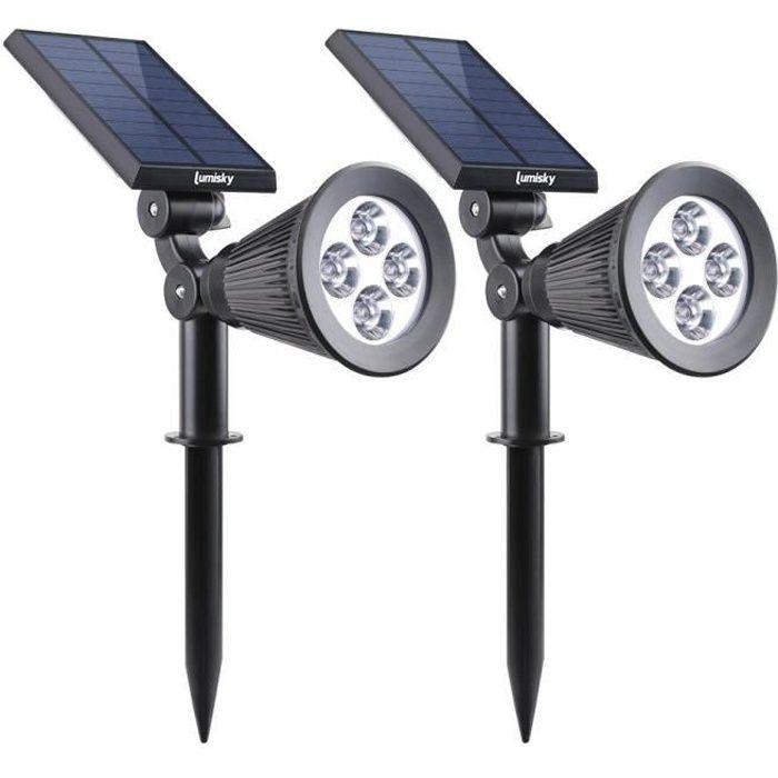spot led solaire exterieur achat vente pas cher. Black Bedroom Furniture Sets. Home Design Ideas