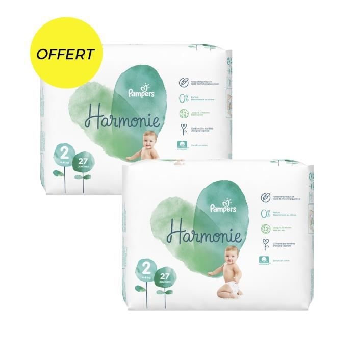 COUCHE Pampers harmonie t2 x54 couches - paquet