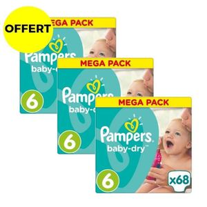 COUCHE PAMPERS Baby Dry Taille 6 - 15+kg - 204 couches -