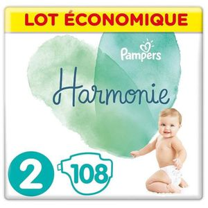 COUCHE PAMPERS Harmonie Taille 2, 4-8 kg, 108 Couches (4x