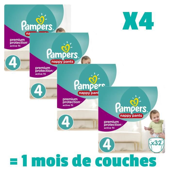COUCHE PAMPERS ACTIVE FIT PANTS Taille 4 - 128 couches -