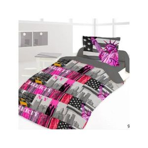 Housse couette new york 200x200 achat vente housse for Housse de couette new york 2 personnes pas cher