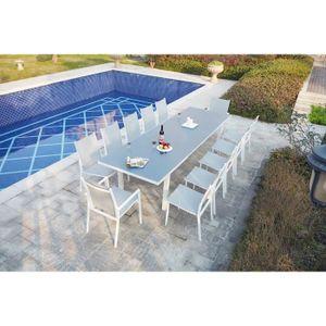 Table de jardin plateau verre trempe extensible - Achat / Vente pas cher