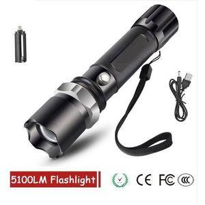 PuissanteXm T6 Modes Lampe Torche D'éclairage D'urgence 5100 Camping Ultra Led LumensEtanche H04de5 Randonnée 5 Pour EDIH92
