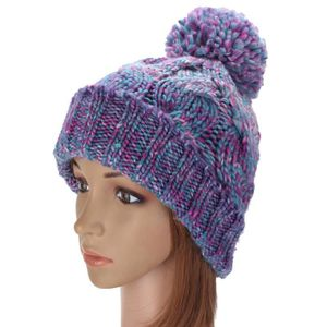 BONNET - CAGOULE Fille Chapeau Crochet Laine Pompon Ski Neige Hiver ... b2802c06013