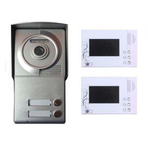 INTERPHONE - VISIOPHONE Portier interphone 2 appartements + 2 écrans blanc