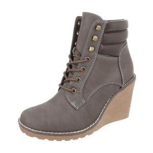 BOTTINE femmes chaussures bottes coin Wedges lacet Boots g ... 2d729400174